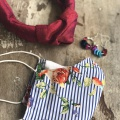 Striped floral mask and accessories