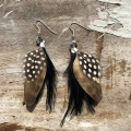 black and gold feather earrings