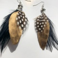 black gold spotty feather earrings
