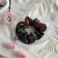 Burgundy rose print scrunchie