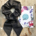 black bow scrunchie hair tie