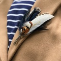 Navy and pheasant feather brooch