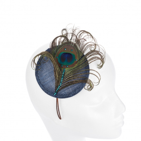 'Pippa' Peacock Crystal Cocktail Hat - Navy