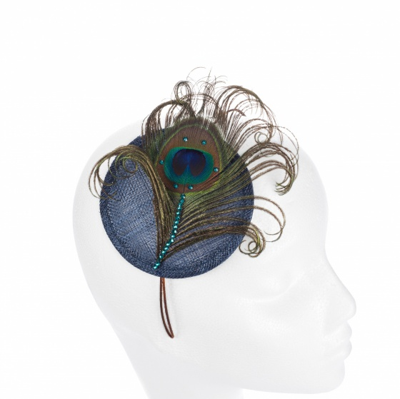 Peacock Crystal Cocktail Hat - Navy