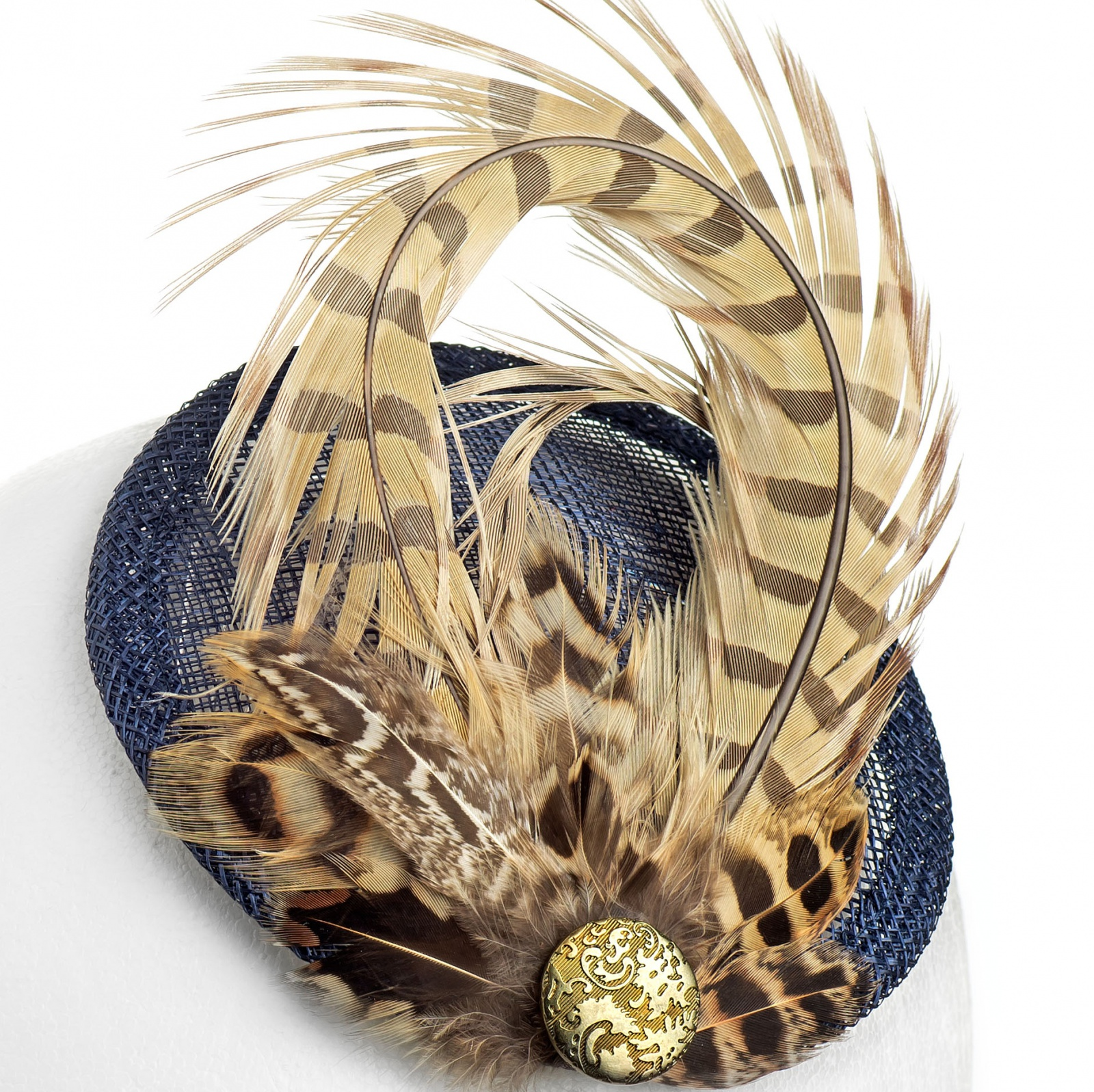 Pheasant feather fascinator - navy   gold 5deaea10aee