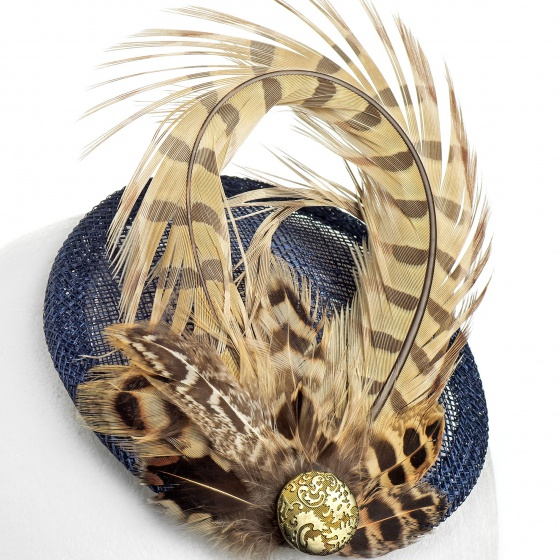'Kate' Pheasant fascinator navy & gold