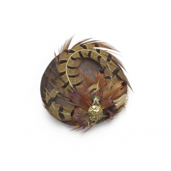 Pheasant feather fascinator - Chocolate