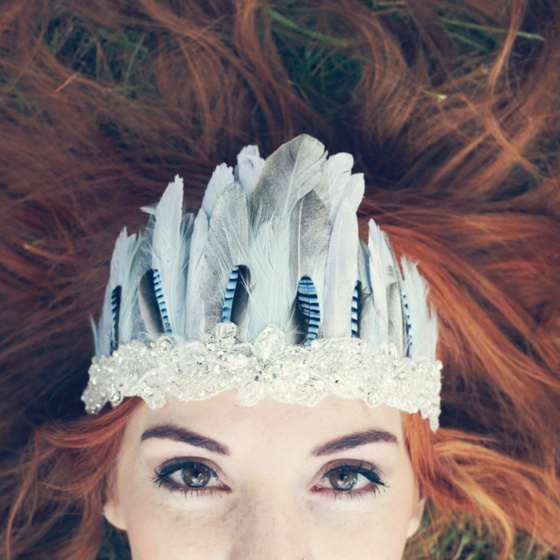 Blue & Silver Feather Headband