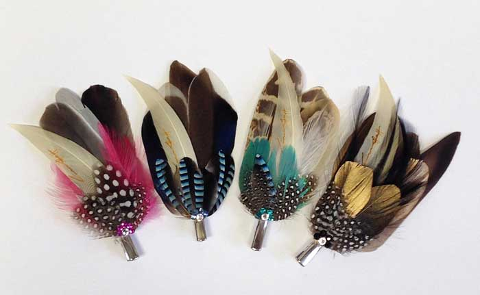 Feather hair / lapel clips