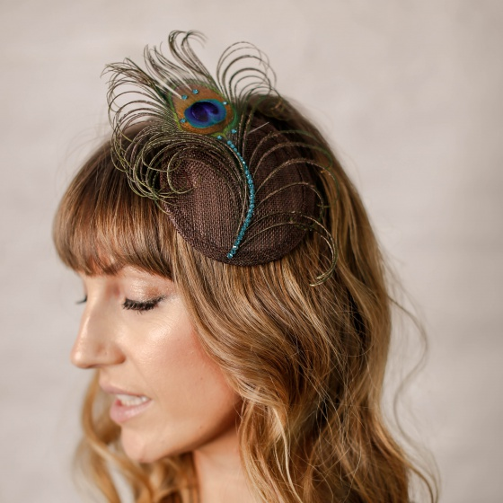 'Pippa' Peacock Crystal Cocktail Hat - Chocolate
