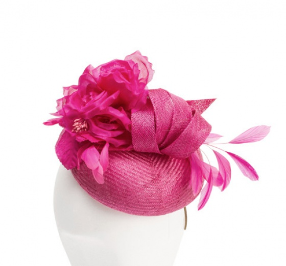 Pillbox Hat with Floral Trim