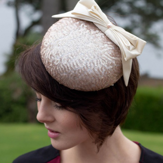 Hire - Bow Sequin Pillbox Hat