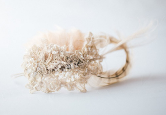 Champagne Lace Headpiece
