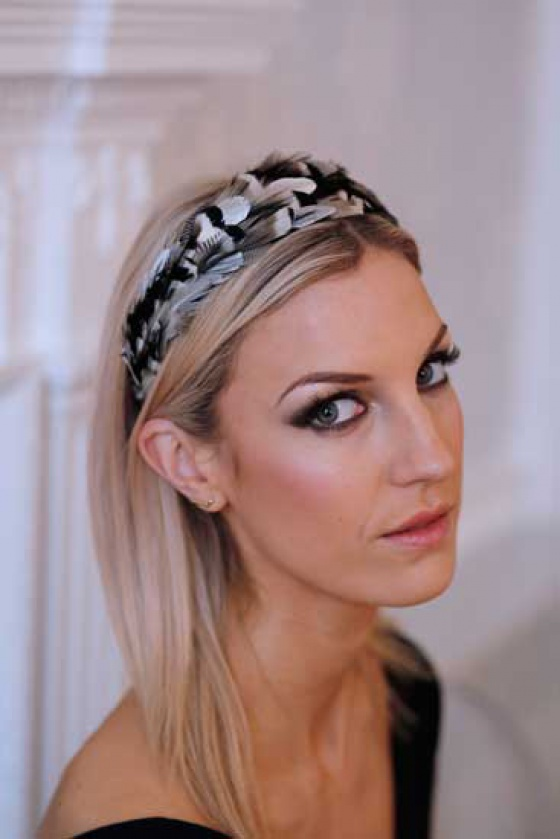 'Idless' black white & sliver wide headband