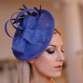 'Lydia' disk hat with soft feathers in lupin blue