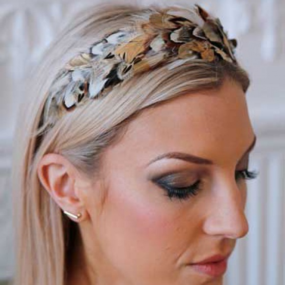 'Idless' gold & ivory wide feather hair band