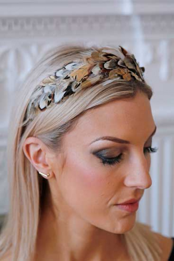 'Idless' gold and ivory wide feather headband