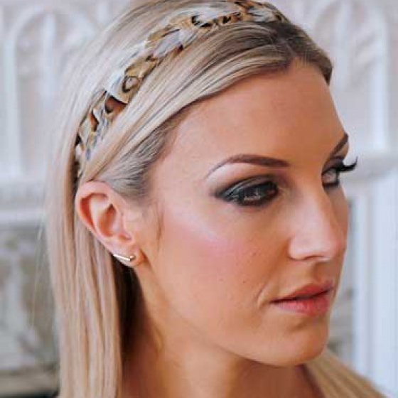 'Gwenva' narrow gold & ivory hair band
