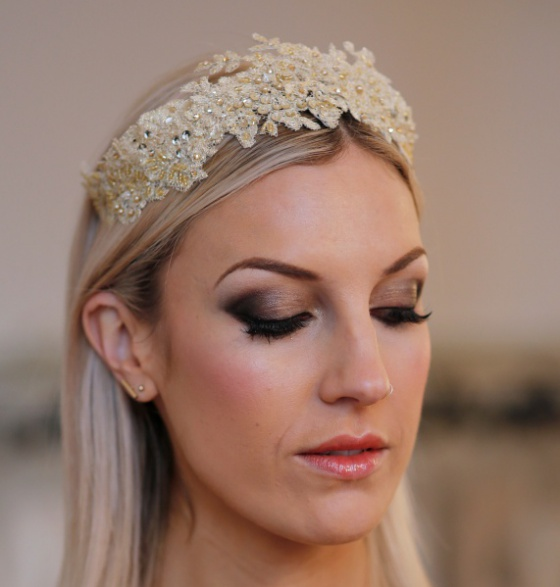 'Prussia Cove' Golden Lace Tiara