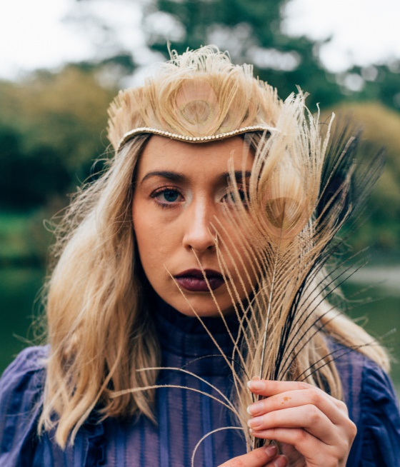 'St Ives' gold peacock feather tiara