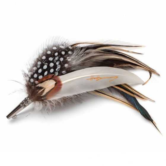 Spotted Feather Brooch Pin