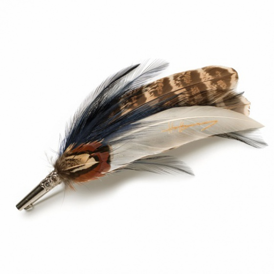 Feather Brooch Pin - navy & brown