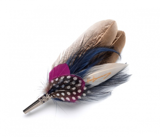 Feather Brooch Pin - pink & navy spot