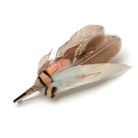 Feather Brooch Pin - peach, blue & rose gold