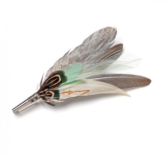 Feather Brooch Pin - mint & silver