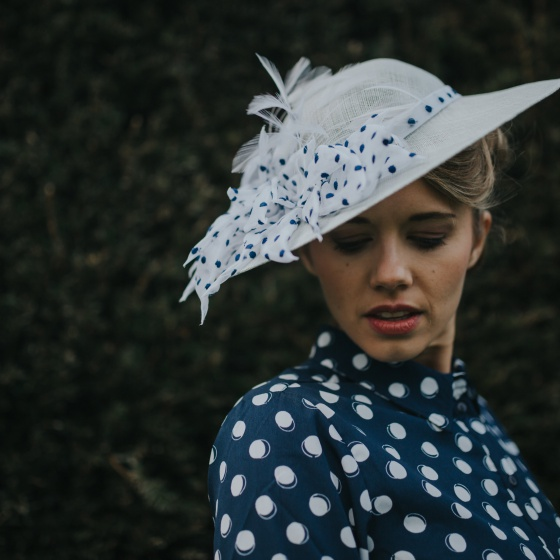 'Lady' blue spotty vintage brim hat