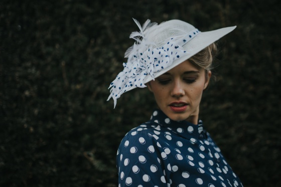 'Lady' spotty petal vintage brim hat