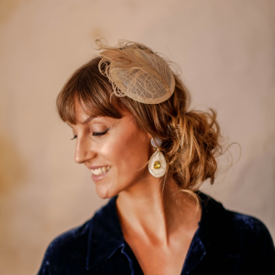Nude & gold peacock cocktail hat