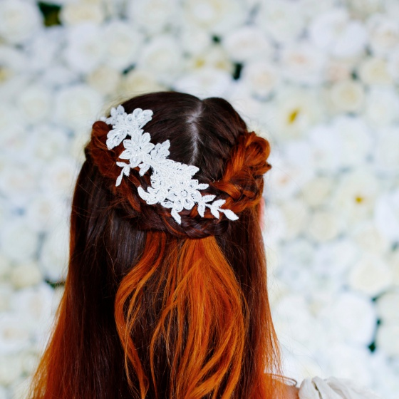 Ivory lace hair vine