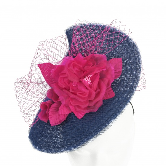'Mademoiselle Butterfly' hat in navy & pink