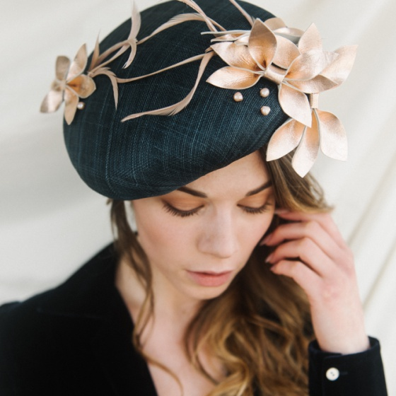 'Bardot' Navy & Rose Gold Leather Beret