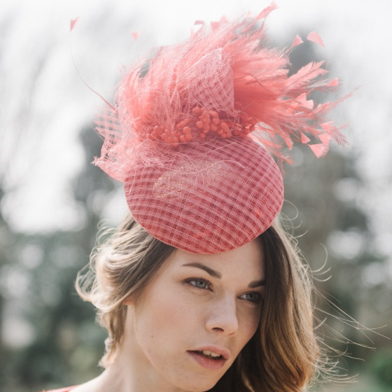 'Coralie' Coral cocktail hat