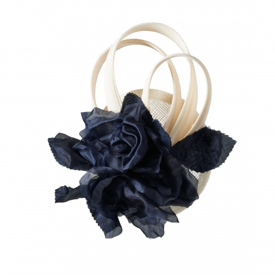 'Lamorran' navy flower fascinator