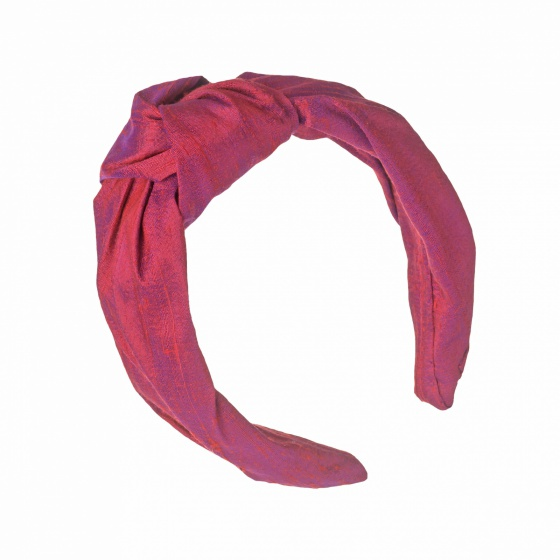 'Beatrix' Silk turban headband Ruby Red
