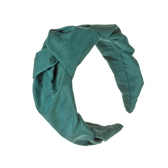 'Beatrix' Silk turban headband Forest Green