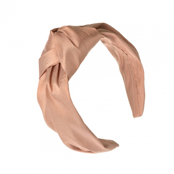 'Beatrix' silk turban headband Dusky Peach