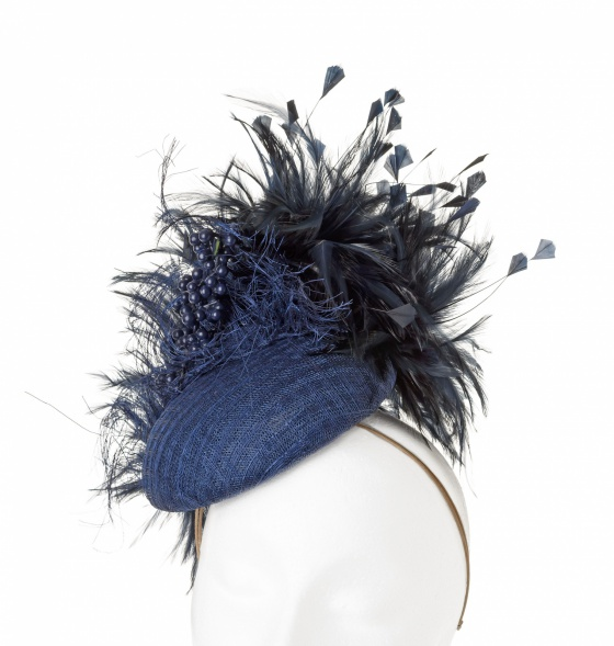 'Coralie' Coral cocktail hat in navy