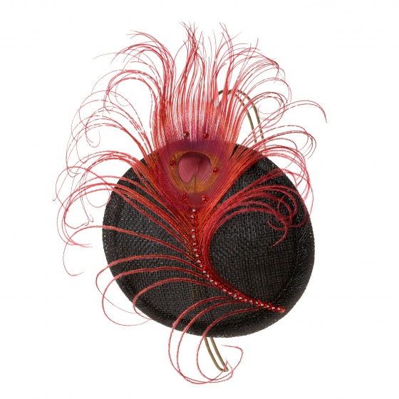 'Pippa' Peacock Crystal Cocktail Hat - Red & Black