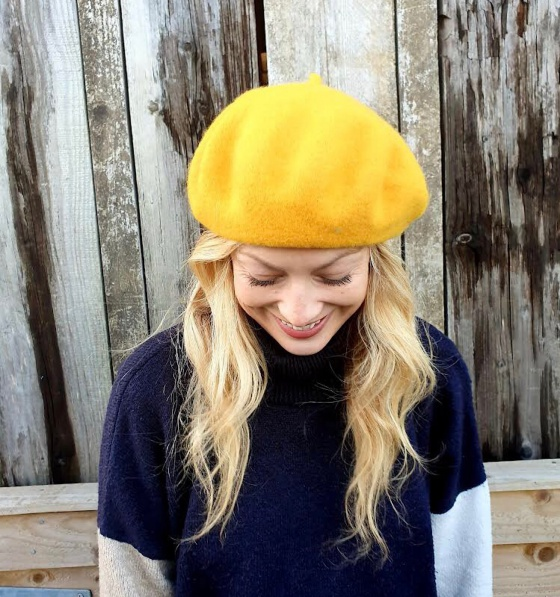 'Bacall' yellow beret