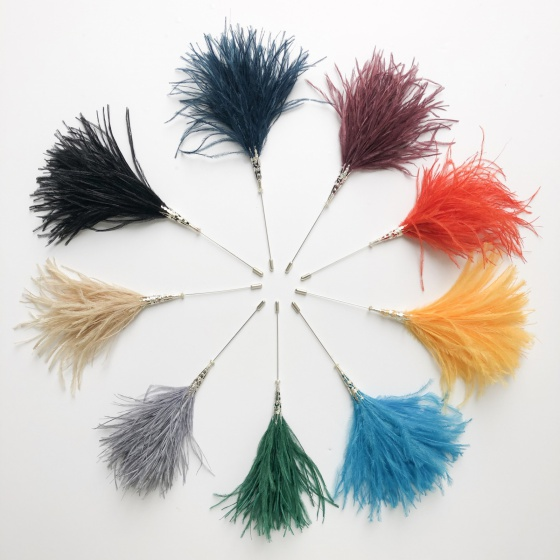 Ostrich feather hat pins