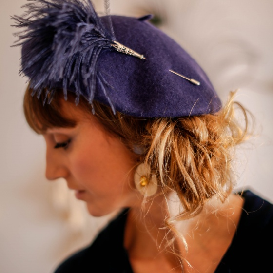 'Bacall' navy beret