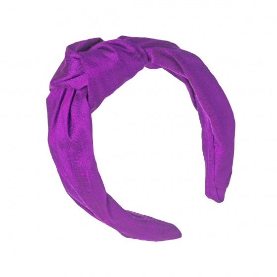 'Beatrix' silk turban headband Vivid Purple