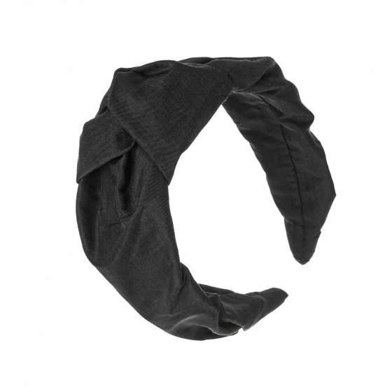 'Beatrix' silk turban headband jet black