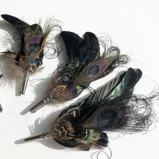 'Nightshade' black feather corsage pins