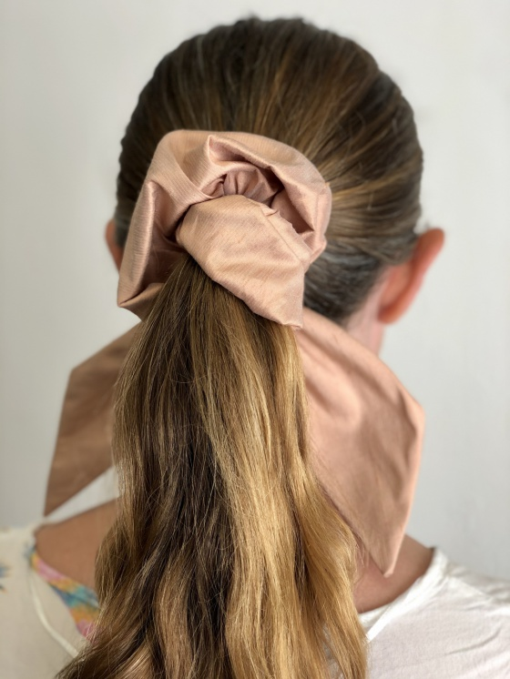 'Pearl bow' large silk scrunchies