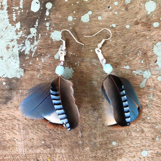 'Jay' blue feather earrings